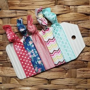 Accessories - Set of 5 Hair Ties - Pink Blue Floral Stripes Dots